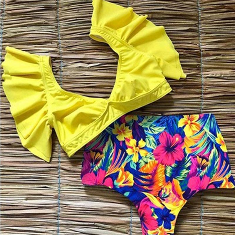 miniature 14 - 1X(Maillot de Bain Deux PièCes en Bikini à Volants Taille Haute pour Femmes Y1I9