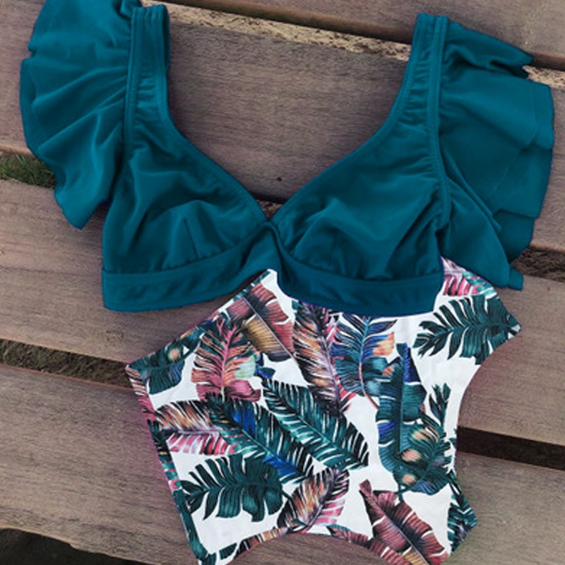 miniature 5 - 1X(Maillot de Bain Deux PièCes en Bikini à Volants Taille Haute pour Femmes Y1I9