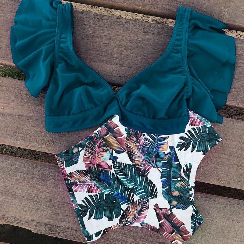 miniature 9 - 1X(Maillot de Bain Deux PièCes en Bikini à Volants Taille Haute pour Femmes Y1I9
