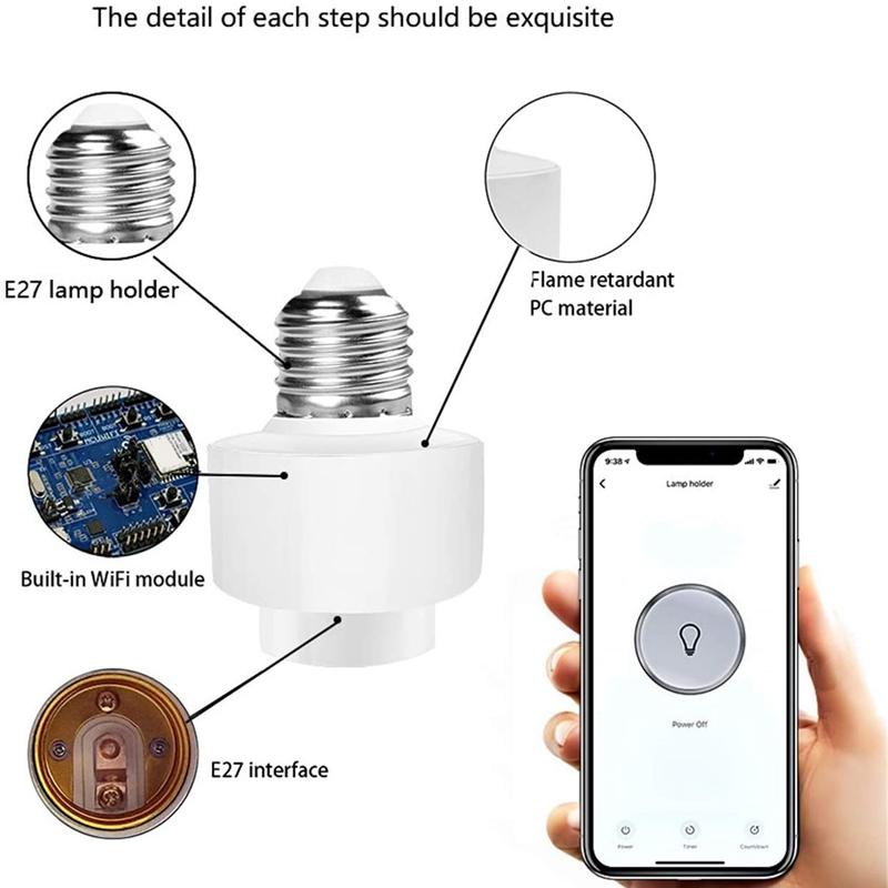miniature 4 - Tuya-Smart-Life-Wifi-Smart-Light-Bulb-Socket-Adapter-E27-Switch-Lamp-Base-H-Y2Z1