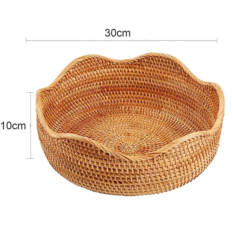 Handmade Rattan reed bulrush Fruit Vegetables Food Storage Basket kitchen tray