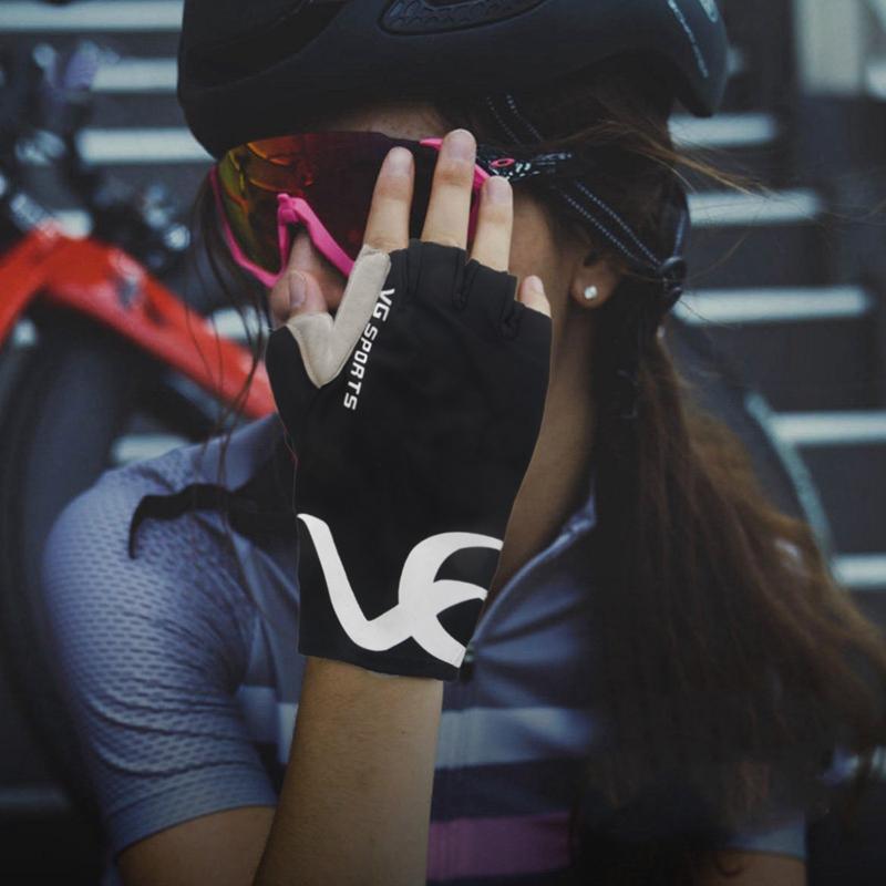 VG-Sports-Antiscivolo-Fare-Aria-Mezze-Dita-Guanti-Guanti-Della-Bicicletta-L-P5U9 miniatura 4