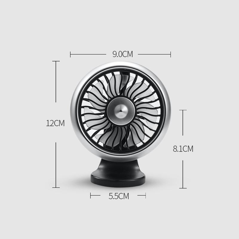 miniature 3 - 12-V-8-Cm-Ventilateur-de-Voiture-eLectrique-360-DegreS-Rotatif-3-Vitesses-Q3T1