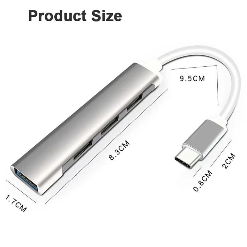 2x-typ-c3-1-Hub-Docking-Station-USB-3-0-Hub-4-en-1-pour-PC-Portable-Tablette-Tel-t6y7 miniature 4