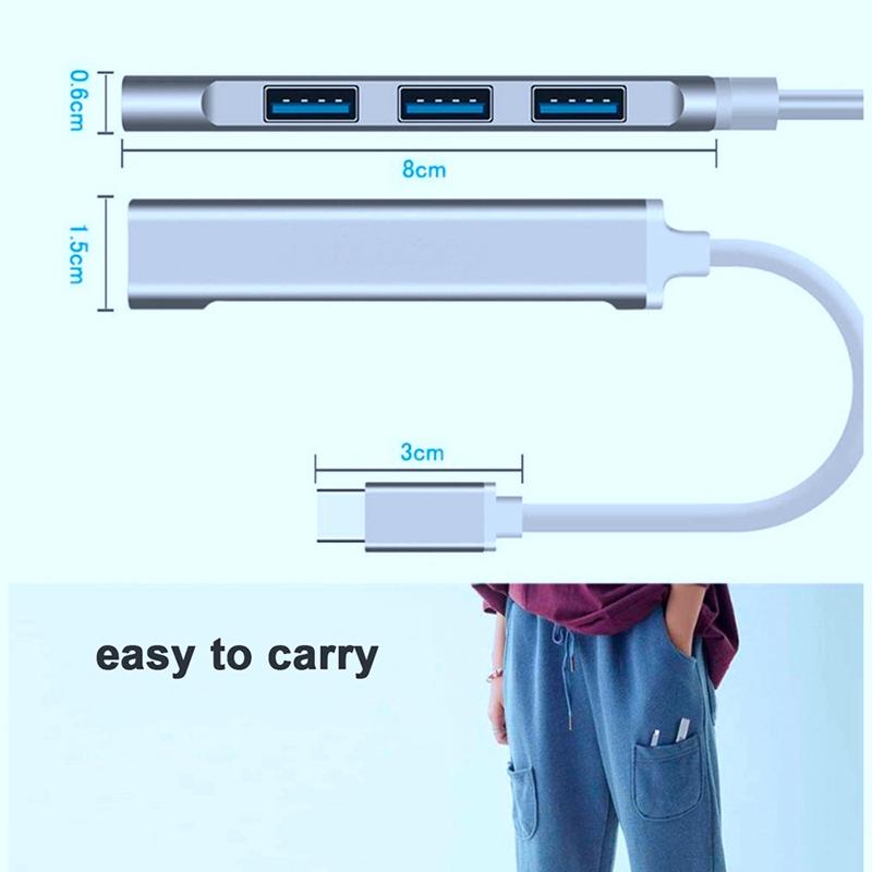 2x-typ-c3-1-Hub-Docking-Station-USB-3-0-Hub-4-en-1-pour-PC-Portable-Tablette-Tel-t6y7 miniature 6