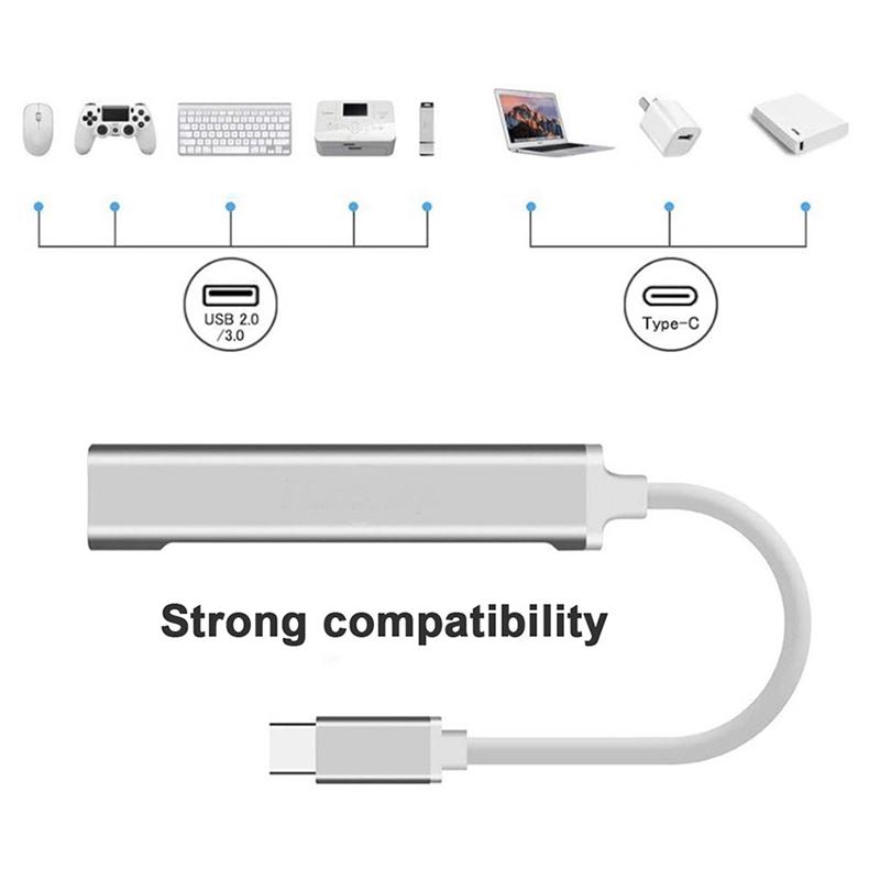 2x-typ-c3-1-Hub-Docking-Station-USB-3-0-Hub-4-en-1-pour-PC-Portable-Tablette-Tel-t6y7 miniature 7