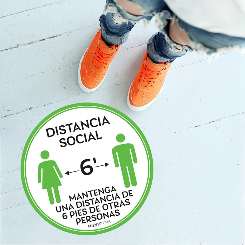 10-StueCk-Sozial-Distanzierung-FussBoden-Decals-Boden-Schild-Markierung-6-Fuss-T9X8 Indexbild 4