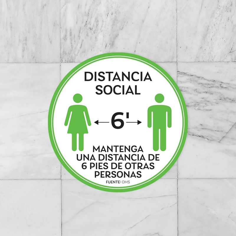 10-StueCk-Sozial-Distanzierung-FussBoden-Decals-Boden-Schild-Markierung-6-Fuss-T9X8 Indexbild 5