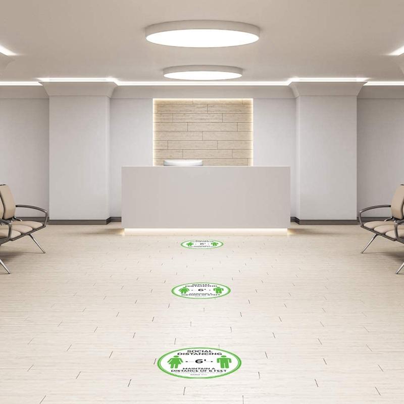 10-StueCk-Sozial-Distanzierung-FussBoden-Decals-Boden-Schild-Markierung-6-Fuss-T9X8 Indexbild 6
