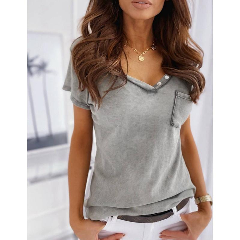 miniature 3 - T-Shirt DéContracté à Manches Courtes et Col en V pour Femmes L6T9