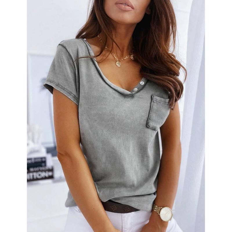 miniature 4 - T-Shirt DéContracté à Manches Courtes et Col en V pour Femmes L6T9
