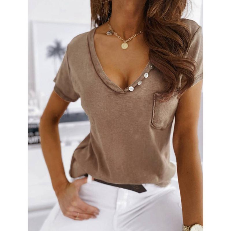miniature 10 - T-Shirt DéContracté à Manches Courtes et Col en V pour Femmes L6T9