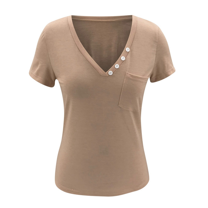 miniature 12 - T-Shirt DéContracté à Manches Courtes et Col en V pour Femmes L6T9