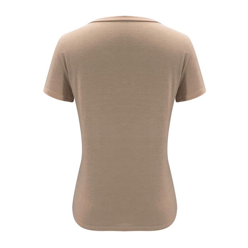 miniature 13 - T-Shirt DéContracté à Manches Courtes et Col en V pour Femmes L6T9