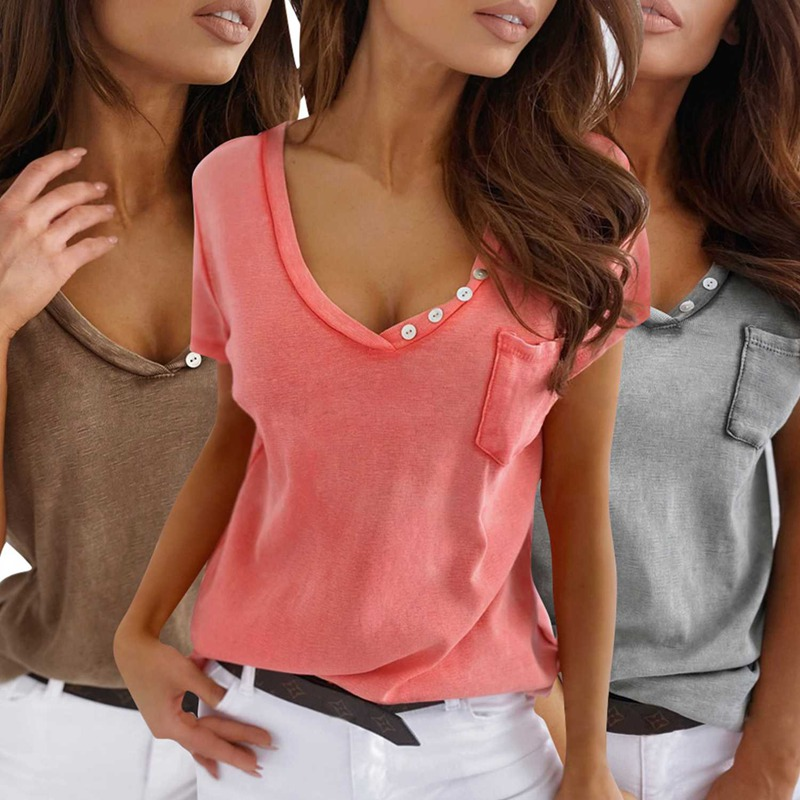 miniature 14 - T-Shirt DéContracté à Manches Courtes et Col en V pour Femmes L6T9
