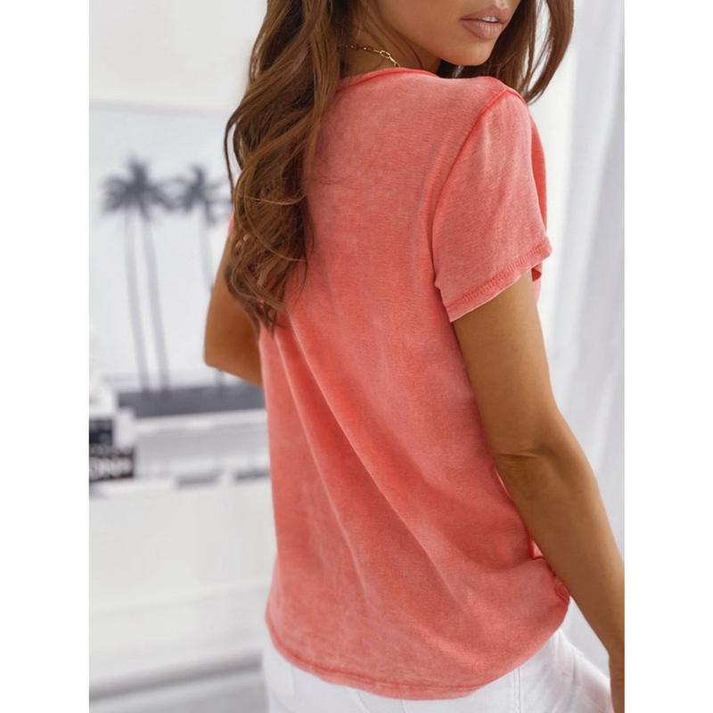 miniature 17 - T-Shirt DéContracté à Manches Courtes et Col en V pour Femmes L6T9