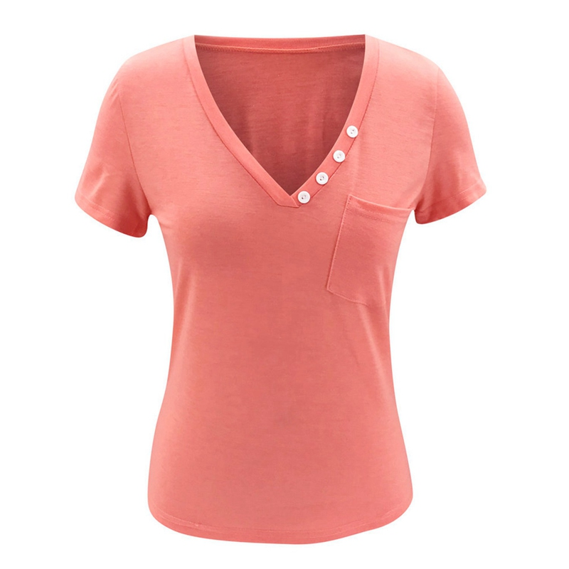 miniature 19 - T-Shirt DéContracté à Manches Courtes et Col en V pour Femmes L6T9
