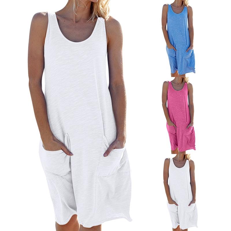 miniature 11 - 1X-Robe-D-039-eTe-Sans-Manches-DeContracteE-Sans-Manches-pour-Femmes-I7C4