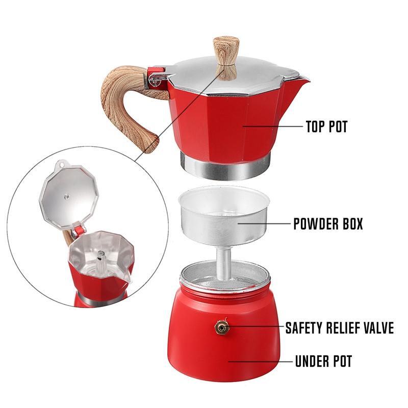 miniature 12 - Aluminium-Moka-Espresso-Machine-a-Cafe-Filtre-Poele-Poele-Pot-3-Tasses-C6L9
