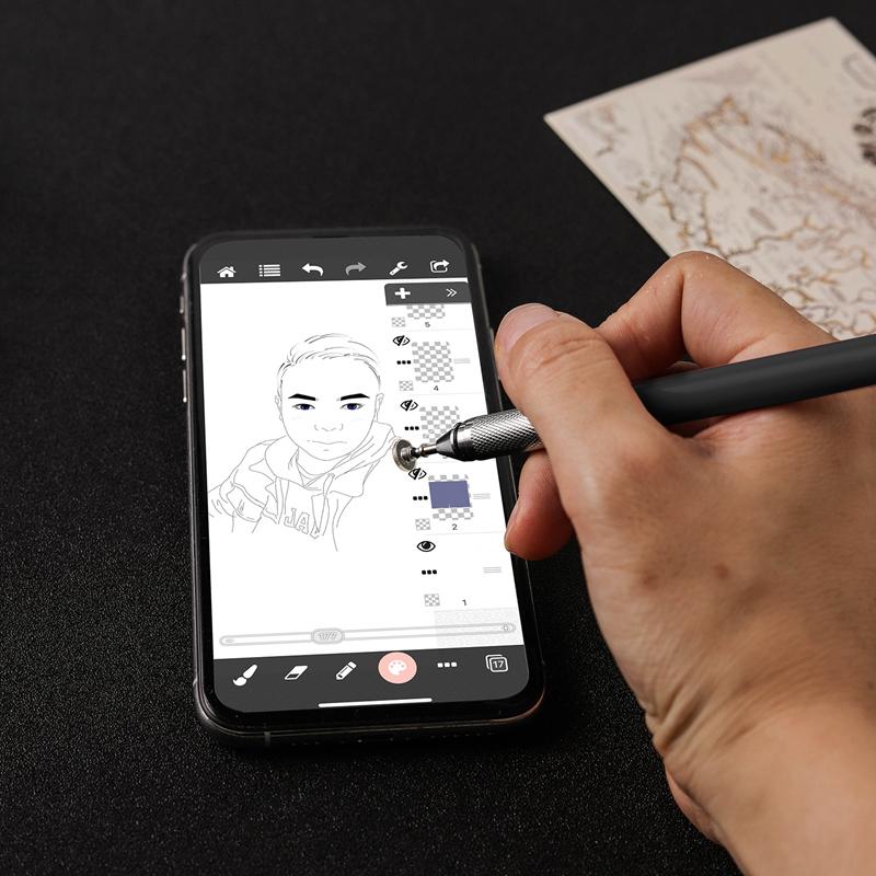 miniature 12 - 1X(Stylo Capacitif à Double Contact, Ventouse Pen Twoin One pour Kindle et Q5C3