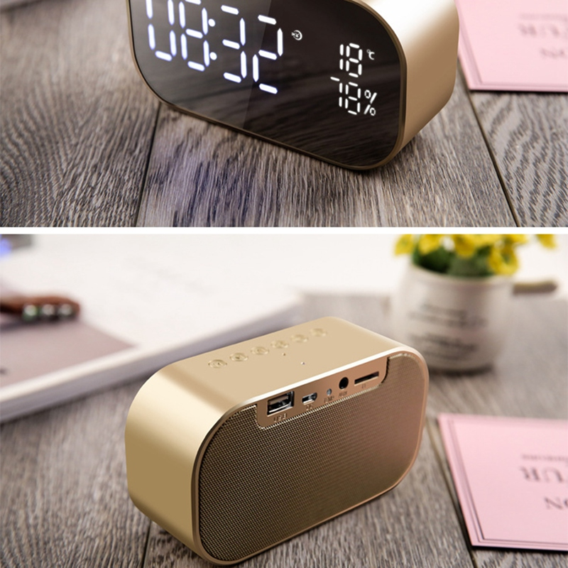 1xWireless Bluetooth Speaker Portable Mini Double Alarm Radio FM Clock HOT W0C8
