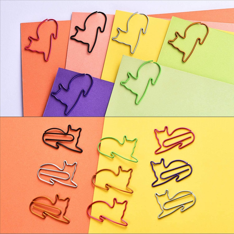 120pcs Paper Clips Funny Metal Cat Shape Paperclips Bookmarks Notebook Plan