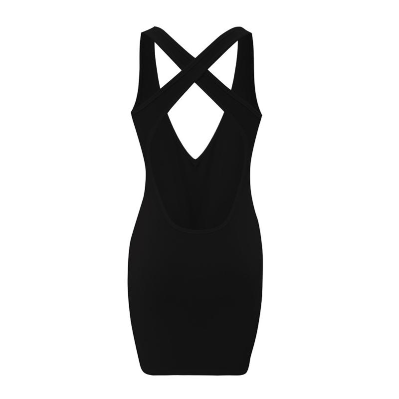 miniatuur 7 - Women's Summer Solid Color Sexy Cross Low-Cut Halter Mini Dress J7Q1