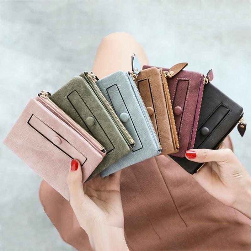 Dames-Portefeuille-Petite-Mode-en-Cuir-Porte-Monnaie-Dames-Porte-Cartes-Sac-P4K5 miniature 5
