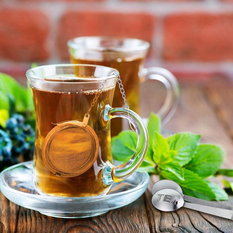 10X(2Pcs Tea Strainers Mesh Tea Infuser Filters with Drip Bowls 2Pcs Tea Ba S8P8