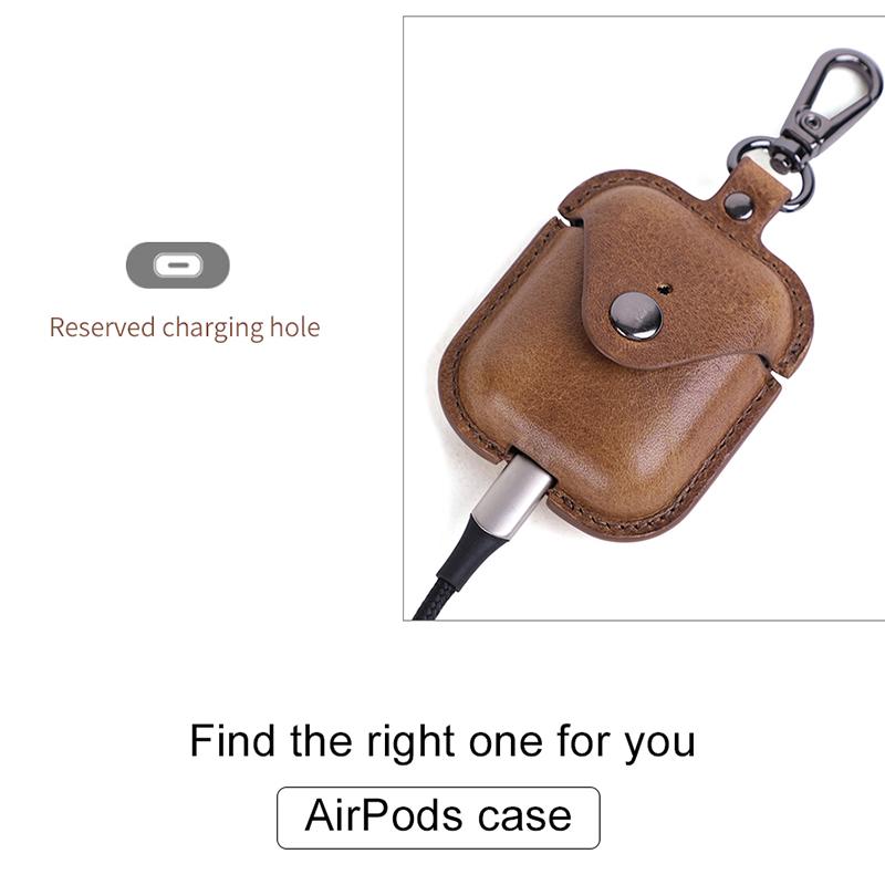 Indexbild 16 - Bluetooth-KopfhoeRertasche-Aus-Echtem-Leder-fuer-AirPods-2-HautschutzzubehoeR-V7F2