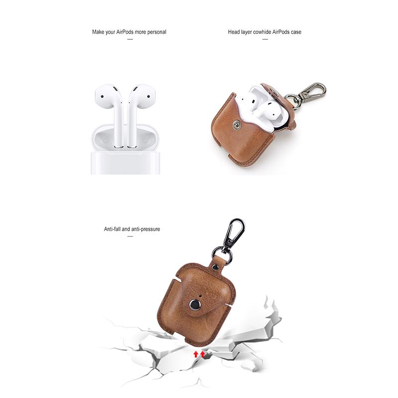 Indexbild 17 - Bluetooth-KopfhoeRertasche-Aus-Echtem-Leder-fuer-AirPods-2-HautschutzzubehoeR-V7F2