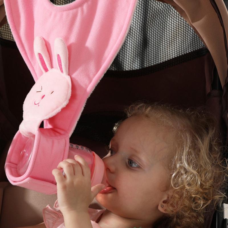 thumbnail 16 - 1X(Baby Animal Pattern Feeding Bottle Holder Plush Cotton Adjustable Nursin B4K4