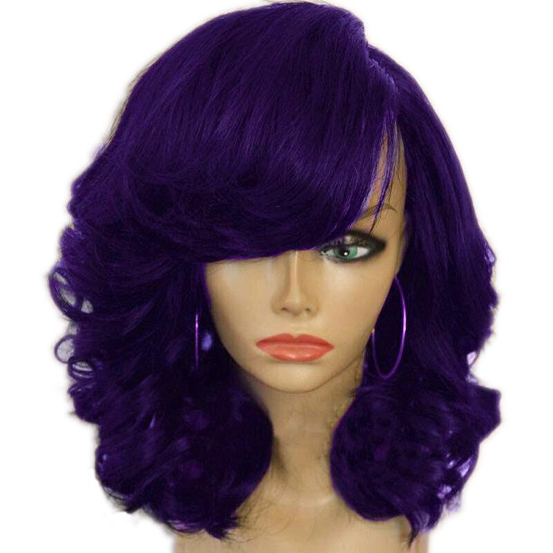 miniature 3 - 1X-Perruque-de-Cheveux-Courts-pour-Femmes-BoucleS-sur-le-CoTe-Cosplay-Syn-L1R1