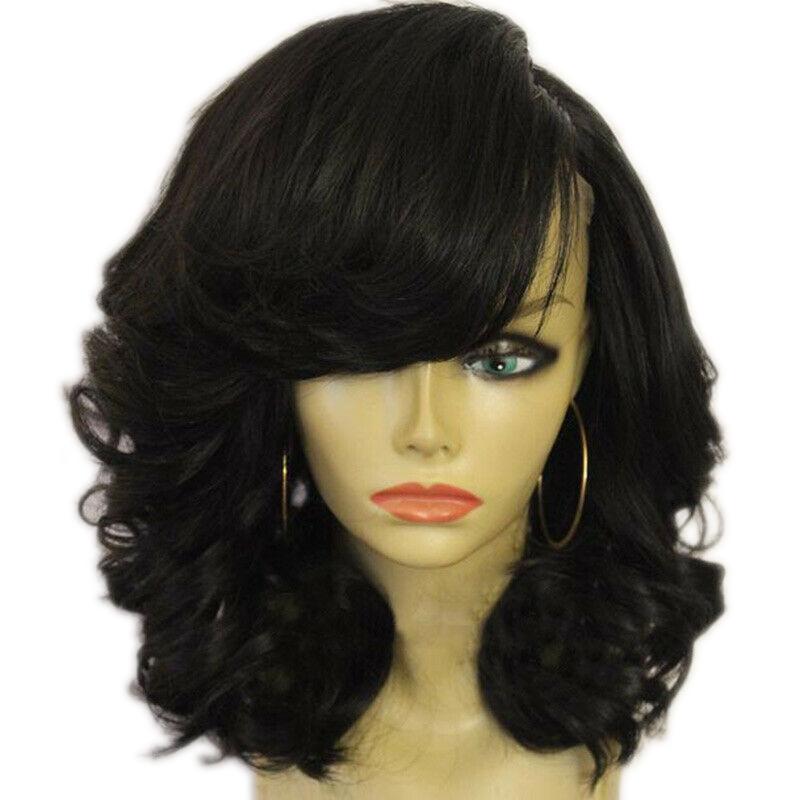 miniature 17 - 1X-Perruque-de-Cheveux-Courts-pour-Femmes-BoucleS-sur-le-CoTe-Cosplay-Syn-L1R1