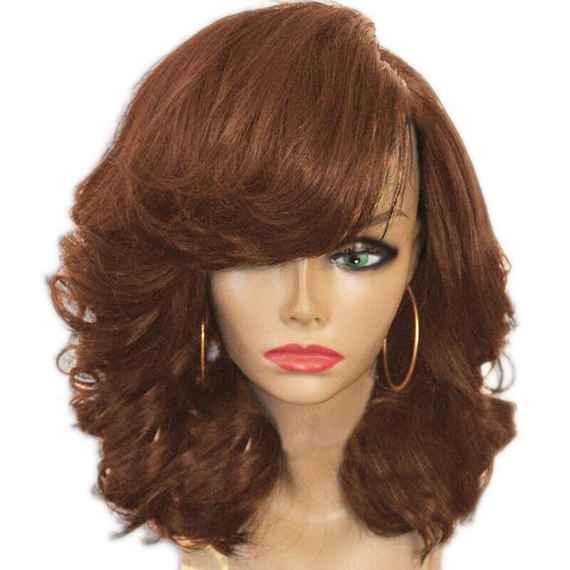 miniature 24 - 1X-Perruque-de-Cheveux-Courts-pour-Femmes-BoucleS-sur-le-CoTe-Cosplay-Syn-L1R1