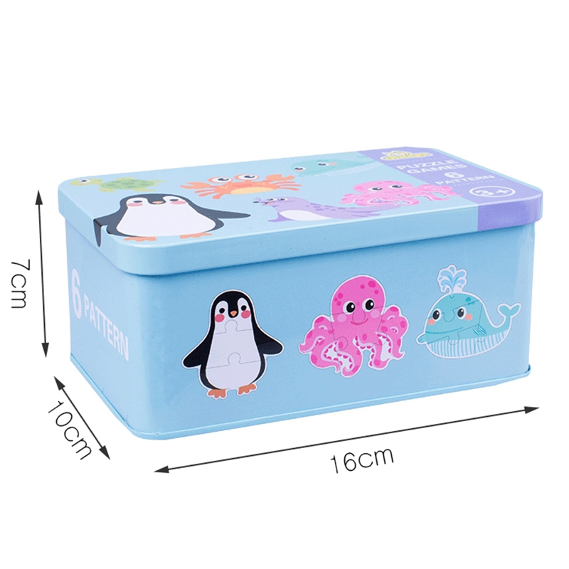 thumbnail 11 - Kids Creative Wooden Puzzle Iron Box Kindergarten Baby Early Education Cart Y3T5