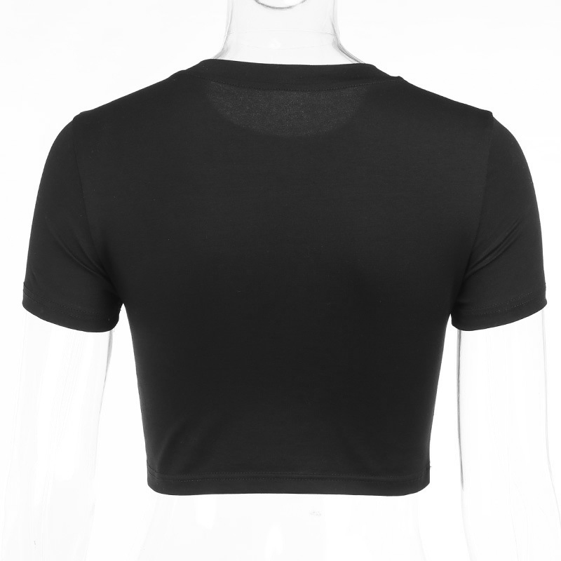 miniatuur 6 - Gothic Summer Black Crop Tops Vintage Embroidery Women Aesthetic T-Shirts