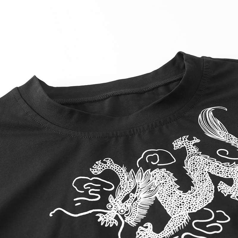 miniatuur 11 - Gothic Summer Black Crop Tops Vintage Embroidery Women Aesthetic T-Shirts