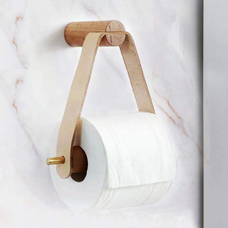 Moligh doll Porte-Papier Hygi/éNique Rouleau Porte-Papier en Laiton en Bois Massif Porte-Papier Hygi/éNique Gratuit Support de Papier Toilette en Laiton Porte-Papier Toilette Mural Cheveux