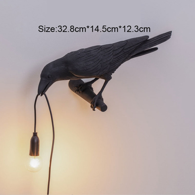 thumbnail 3 - Bird Lamp Wall Light Resin Crow Wall Sconce Bedroom Bedside Table Lamps-Wal X7V2