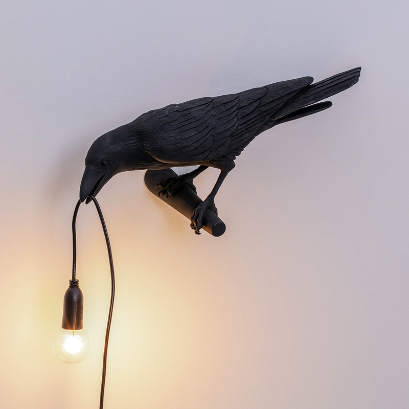 thumbnail 4 - Bird Lamp Wall Light Resin Crow Wall Sconce Bedroom Bedside Table Lamps-Wal X7V2