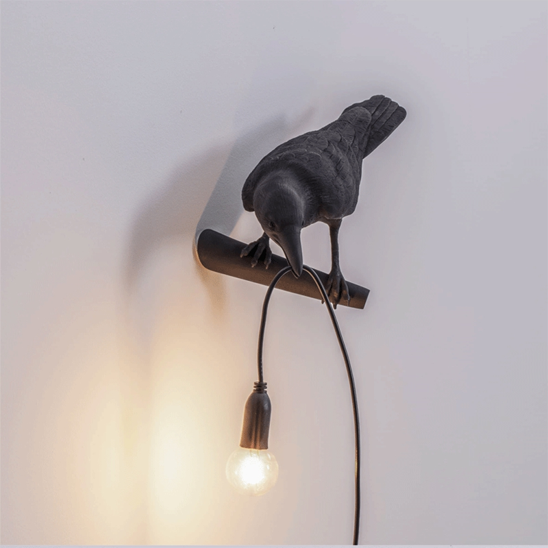 thumbnail 5 - Bird Lamp Wall Light Resin Crow Wall Sconce Bedroom Bedside Table Lamps-Wal X7V2