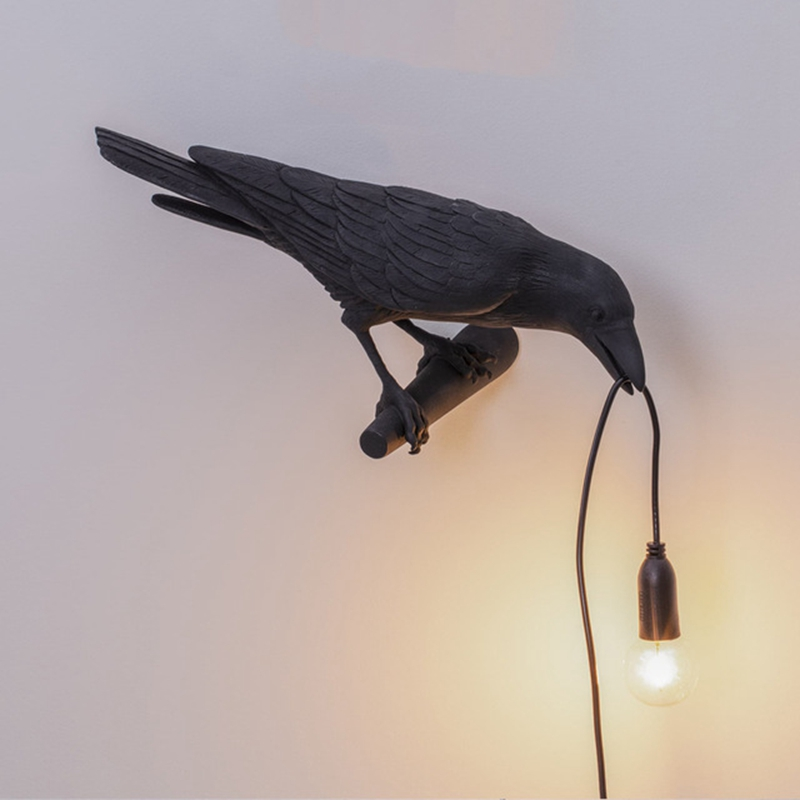 thumbnail 6 - Bird Lamp Wall Light Resin Crow Wall Sconce Bedroom Bedside Table Lamps-Wal X7V2