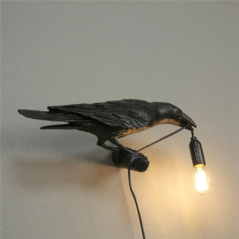 thumbnail 7 - Bird Lamp Wall Light Resin Crow Wall Sconce Bedroom Bedside Table Lamps-Wal X7V2