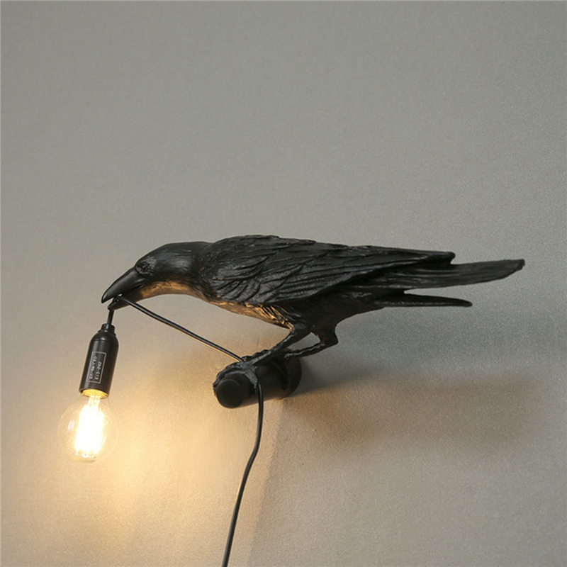 thumbnail 8 - Bird Lamp Wall Light Resin Crow Wall Sconce Bedroom Bedside Table Lamps-Wal X7V2