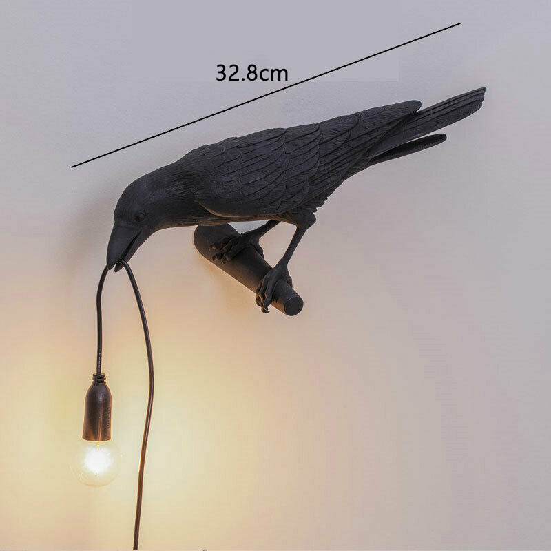thumbnail 9 - Bird Lamp Wall Light Resin Crow Wall Sconce Bedroom Bedside Table Lamps-Wal X7V2