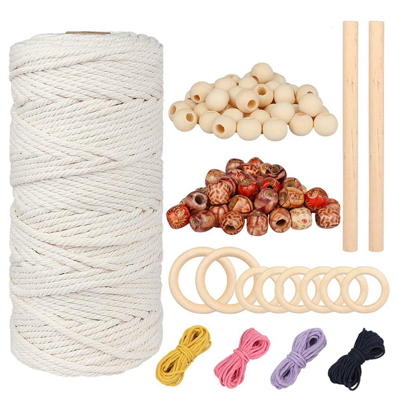 Natural Beige Twisted Cord Rope for Wall Hanging Plant Hanger Craft Knitting Handmade Decoration Macrame Natural Wool Rope 1MM x 100M