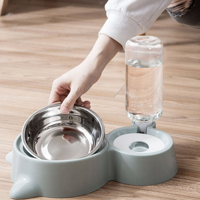 thumbnail 8 - Double Pet Bowls Dog Food Water Feeder Stainless Steel Pet Drinking Dish Fe A1Q9