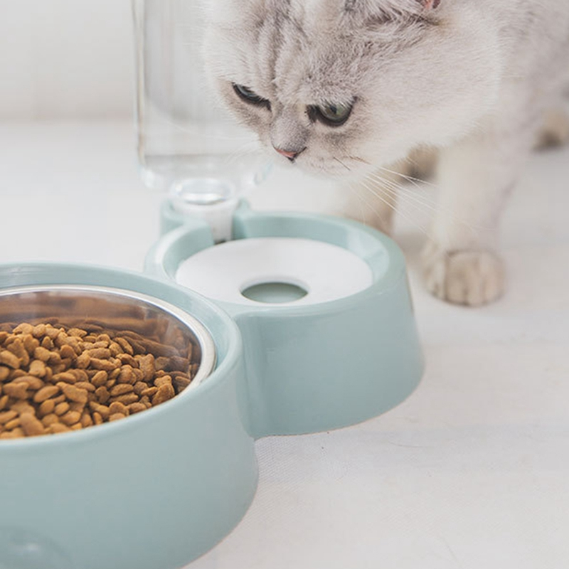 thumbnail 10 - Double Pet Bowls Dog Food Water Feeder Stainless Steel Pet Drinking Dish Fe A1Q9
