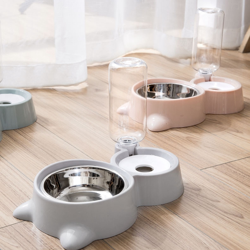 thumbnail 16 - Double Pet Bowls Dog Food Water Feeder Stainless Steel Pet Drinking Dish Fe A1Q9